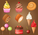 Sweet pastry set. vector, gradient, Eps10