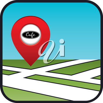 Street map icon with the pointer cafe. vector, gradient, EPS10