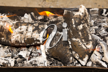 Fire, burning coal on a barbecue