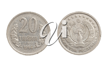 Uzbek coin on white background