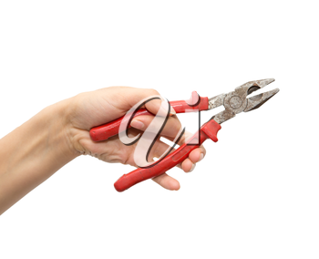 pliers in hand on white background