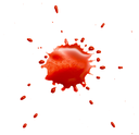 abstract blotch red drops on a white background