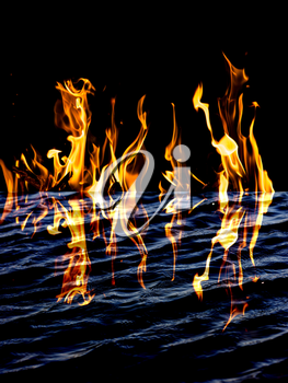 flame fire with reflection in water