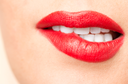 beautiful lips with red lipstick