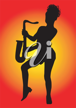 Royalty Free Clipart Image of a Girl Playing Saxophone