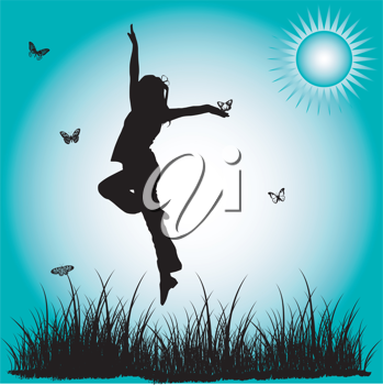 Royalty Free Clipart Image of a Happy Girl Outside