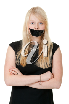 Royalty Free Photo of a Girl With Her Mouth Taped Shut