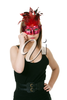Royalty Free Photo of a Young Woman in a Mask