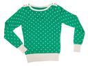 Green sweater with a pattern of polka dots