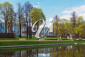 Catherine Palace with a general view of the reflection in the canal