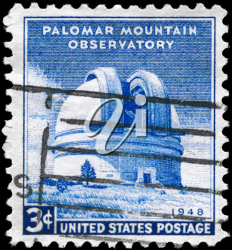 Royalty Free Photo of a 1948 US Stamp Shows the Palomar Mountain Observatory