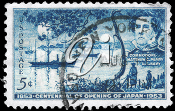 Royalty Free Photo of 1953 US Stamp of Century of Commodore Matthew Calbraith Perry�s Negotiations with Japan