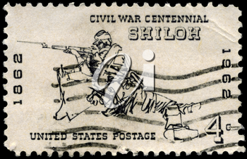 Royalty Free Photo of 1962 US Stamp Shows the Rifleman at Shiloh, 1862, Civil War Centennial Issue
