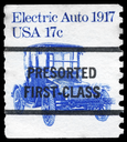 Royalty Free Photo of 1981 US Stamp Shows the Electric Auto, Transportation