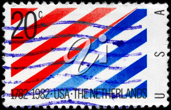 Royalty Free Photo of 1982 US Stamp Devoted to 200th Anniversary of Diplomatic Recognition by the Netherlands