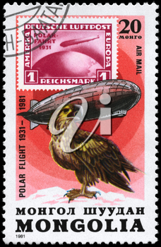 MONGOLIA - CIRCA 1981: A Stamp printed in MONGOLIA shows the image of the Graf Zeppelin & Sea Eagle from the series Polar Flight 1931-1981, circa 1981