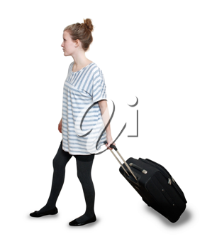 Royalty Free Photo of a Woman With a Suitcase