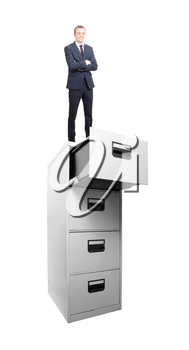 Businessman on archive on white