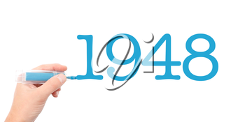 The year of 1948written with a marker
