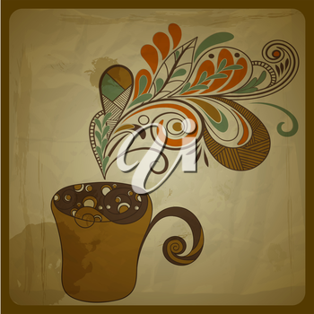 Royalty Free Clipart Image of a Coffee Cup with Flowers