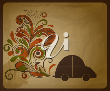 Royalty Free Clipart Image of a Car with Flowers