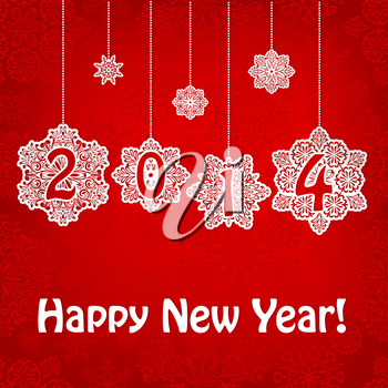 Vector 2014 New Year Greeting Card with hanging snowflakes and greetings on red seamless pattern, transparency effects