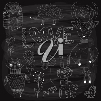 Vector Valentine's Day Set with animals and plants,white  chalk on blackboard