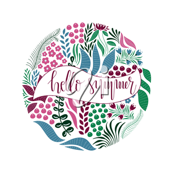 Vector Circle  Pattern with Flowers, Berries, and Leaves. Hand Lettering Text. Hello Spring.  Spring Greeting Card Design