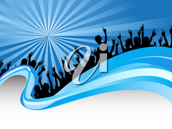 Royalty Free Clipart Image of a Crowd of People