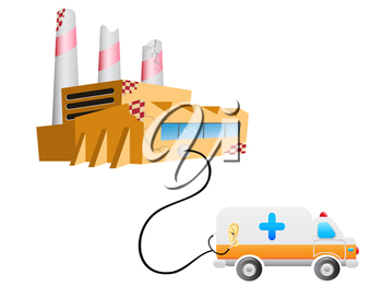 Royalty Free Clipart Image of an Ambulance and Factory