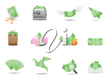 Royalty Free Clipart Image of Money Icons