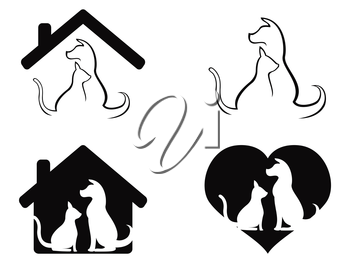 isolated dog and cat pet caring symbol from white background