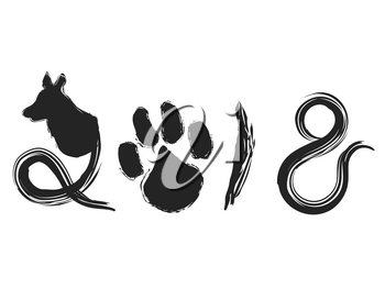 isolated the calligraphy of dog year 2018 on white background
