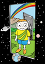Royalty Free Clipart Image of a Boy at a Door