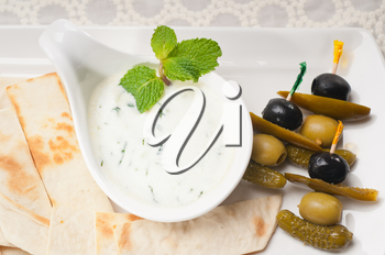 Royalty Free Photo of Tzatziki and Pita Bread