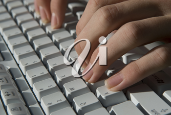 Royalty Free Photo of a Person Typing on  Keyboard
