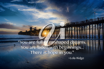Royalty Free Photo of a Sunset Landscape and an Inspirational Quote