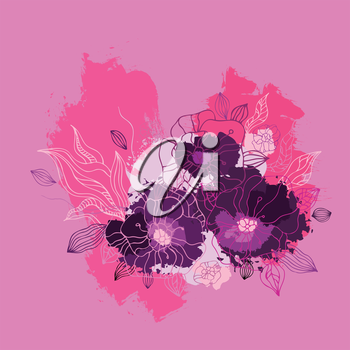 Decorative floral background. Hand drawn blooming flowers.