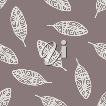 Vintage Feathers seamless background. Hand drawn illustration.