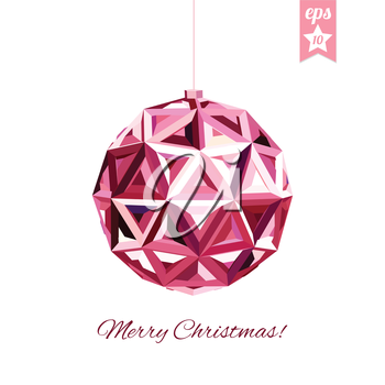 Geometric christmas ball. Abstract poster, space for your text.