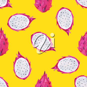 Watercolor pitaya. Hand painted seamless pattern with exotic fruits. Seamless background