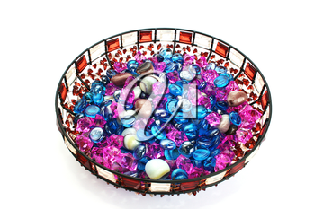 Royalty Free Photo of Colourful Stones in a Bowl