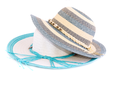 Colorful summer hats isolated on white background.