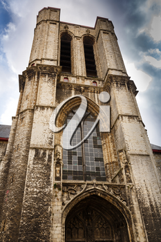 The unfinished western tower of The Saint Michael's Church in Ghent, Belgium.