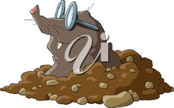 Royalty Free Clipart Image of a Mole Wearing Glasses