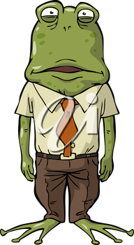 Office frog on a white background vector illustration