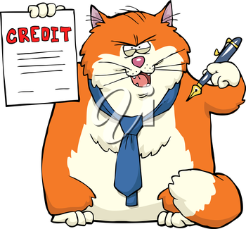 Cat persuaded to sign a loan agreement vector illustration