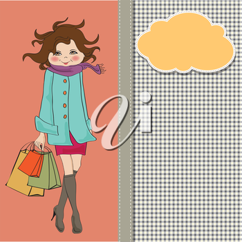 Royalty Free Clipart Image of a Young Woman With Shopping Bags