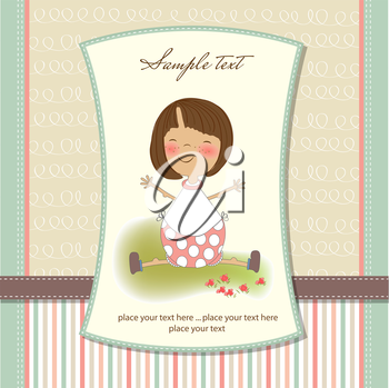 Royalty Free Clipart Image of a Card With Space for Text and a Little Girl on It