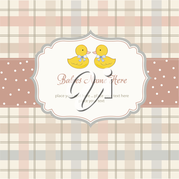 Royalty Free Clipart Image of a Baby Shower Background With Two Ducks